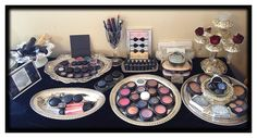 VANITY :: New layout for my Old Hollywood vintage style M.A.C. makeup vanity !!!  I used old silver plate dishes & trays to group makeup by eyes, lips, cheeks, foundation, skin care etc.  Almost done with the vision I had over a year ago <3
