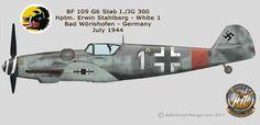 Messetschmitt Bf 109G-6, Stab I.JG 300, Hauptmann Erwin Stahlberg, Germany July…