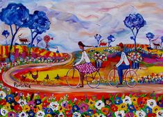 Artwork of Portchie exhibited at Robertson Art Gallery. Original art of more than 60 top South African Artists - Since African Paintings, Art Paintings, Contemporary Decorative Art, African Colors, South African Artists, Flower Shops, Naive Art, Whimsical Art, Flower Art
