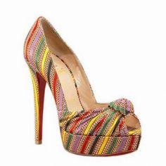 Christian Louboutin Greissimo Multi-Color Peep Toe Pumps - $107.48