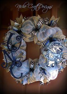 UNC Carolina Tar Heels deco mesh wreath with chevron burlap and zebra print ribbon.