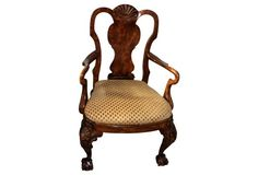 """George III-Style Carved Armchair, c.1980's 