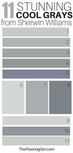 Awesome Cool Gray Paint Shades from Sherwin Williams 11 awesome cool gray paint shades from Sherwin Williams. Best cool grays and coordinating accent awesome cool gray paint shades from Sherwin Williams. Best cool grays and coordinating accent walls Exterior Gris, Exterior Gray Paint, Exterior House Colors, Bedroom Paint Colors, Interior Paint Colors, Paint Colors For Home, Interior Painting, Painting Walls, Gray Paint For Bedroom