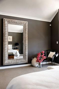 Collected Interiors is a boutique interior design company based in Perth WA specialising in styling and decoration, Check out our website, Located in Perth, Western Australia WA, Professional interior decorator firm and interior designers. Home Bedroom, Bedroom Decor, Gray Bedroom, Bedroom Mirrors, Big Mirror In Bedroom, Design Bedroom, Large Bedroom, Cozy Master Bedroom Ideas, Long Bedroom Ideas