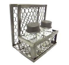 Chicken Wire Napkin Holder with Mason Jar Salt #KitchenDecorIdeas