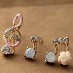 Super Cute Ladies Music Notes Rhinestone Earring Set for Women | eBay