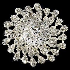 Opentip.com: Elegance by Carbonneau Brooch-3171-S-Clear Beautiful Round Silver Rhinestone Bridal Brooch 3171