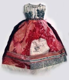 ℘ Paper Dress Prettiness ℘ art dress made of paper by Leonie Oakes Paper Dress Art, Paper Art, Paper Dresses, Red Paper, Doll Dresses, Paper Fashion, Fashion Art, Fashion Clothes, Paper Clothes