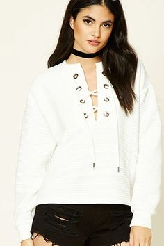 Ribbed Lace-Up Pullover