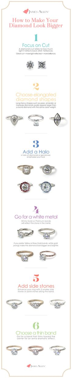 Size doesn't matter -- You can get the 'wow' effect with any sized diamond. When designing an engagement ring, make your diamond appear larger, and get the most sparkle for your value with these tips and tricks. | Go to JamesAllen.com to design the perfect engagement ring and browse diamonds in 360° HD.