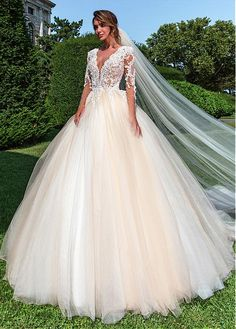 Buy discount Gorgeous Tulle Jewel Neckline Ball Gown Wedding Dress With Beaded Lace Appliques at Dressilyme.com