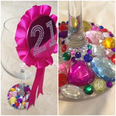 DIY Bedazzled Wine Glass. Perfect for a 21st birthday gift.