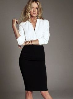 white blouse + black pencil skirt= classic look! But her leg looks extra bent! Fashion Mode, Office Fashion, Work Fashion, Womens Fashion, Women Business Fashion, Style Fashion, Office Outfits Women, Mode Outfits, Fashion Outfits