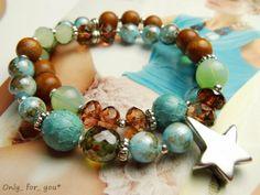 Mehrreihiges Armband ♥ Glasperlen ♥ türkis braun von ★ Only_ for_ you* ★  auf DaWanda.com