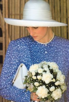 Princess Diana on an official trip in Oman during her visit to the Gulf States November 10, 1986. She is wearing a Philip Somerville hat.