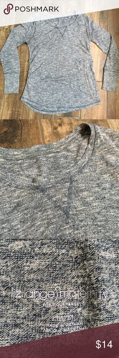 Liz Lange Maternity Sweater Extremely soft and classy sweater. It's a heathered blue-gray color. GUC. Size medium but I wore from first trimester to postpartum. Liz Lange Sweaters