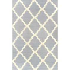 The nuLOOM Wool Hand Hooked Marrakech Trellis Area Rug has a sharp look with an edgy take on a modern trend. The Marrakech trellis pattern has contrasting bold shades that will bring a pop of color to your space. Size: x Color: Spa Blue.