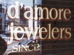 Glass Gold Leaf on business window for D'Amore Jewelers in New York by www.roycesignworks.com