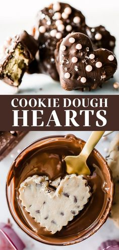 These adorable no-bake chocolate covered Cookie Dough Hearts are the perfect homemade chocolate treat for Valentine's Day, no chocolate tempering or candy melts required! This easy, from-scratch recipe is the best creative dessert idea - perfect for him, or for two! #cookiedoughhearts #cookiedough #valentinesdaydessert Best Cookie Recipes, Best Dessert Recipes, Baking Recipes, Bar Recipes, Fudge Recipes, Candy Recipes, Baking Ideas, Creative Desserts, Fun Desserts