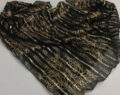 Black Gold SILK scarf, Gift for teacher, Gift for wife, Square 36X36  Gift for friend, Boss gift, Black silk Shawl,  Sarong Pareo by blingscarves. Explore more products on http://blingscarves.etsy.com