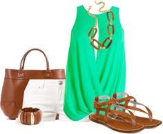 """Green and White"" by ohmeejean on Polyvore"