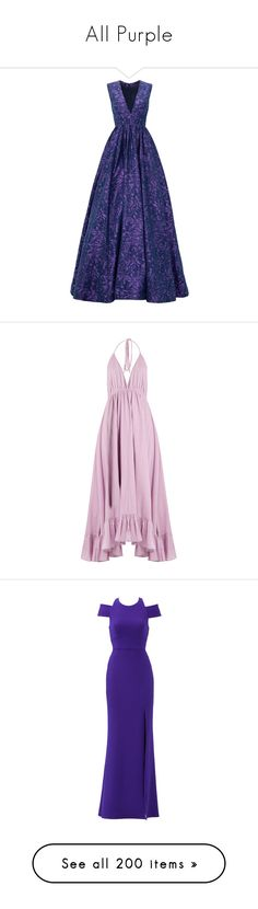 """""""All Purple"""" by anniebenny ❤ liked on Polyvore featuring dresses, gowns, long dresses, vestidos, purple, long v neck dress, blue evening gown, purple ball gowns, v neck dress and gown"""