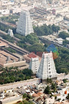 Stock Photo of Arunachaleswar temple tiruvannamalai tamil nadu india aerial view