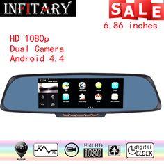 "7 Car DVR 6.86""Touch screen navigator 1GB 16GB Android GPS Navigation Mirror Car DVR dual lens camera rear parking WiFi FM"