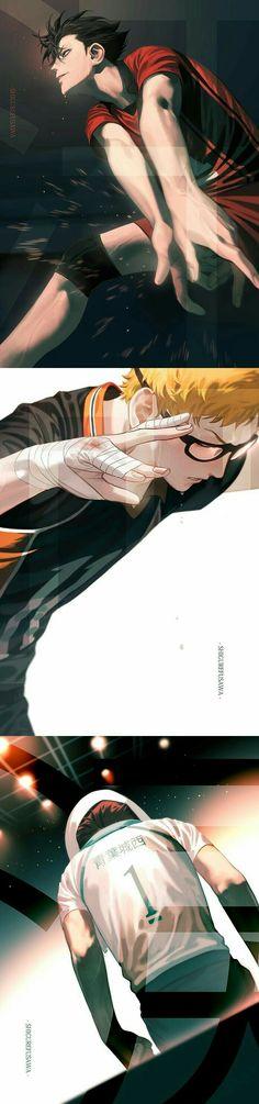 Gorgeous artworks of Haikyuu! Manga Haikyuu, Haikyuu Karasuno, Haikyuu Funny, Haikyuu Fanart, Haikyuu Ships, Nishinoya, Tsukishima Kei, Kuroo Tetsurou, Kagehina