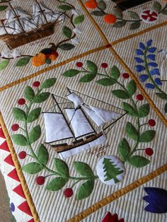 pretty quilting complimenting the applique - green fairy quilts - Judi Madsen