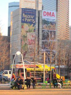Food trucks flock to Dallas' Klyde Warren Park, in the shadow of downtown.