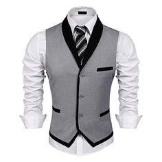 Men's Clothing, Suits & Sport Coats, Men's V-Neck Sleeveless Slim Fit Vest-Jacke. Men's Clothing, Suits & Sport Coats, Men's V-Neck Sleeveless Slim Fit Vest-Jacket Business Suit Dress Vest - Grey - Mens Suit Vest, Men's Waistcoat, Mens Suits, Grey Suits, Suit Men, Wedding Vest, Frack, Designer Suits For Men, Men Dress