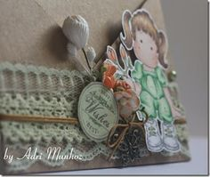 Criss-cross card com carimbo Magnolia colorido com Copic Markers e flores WOC