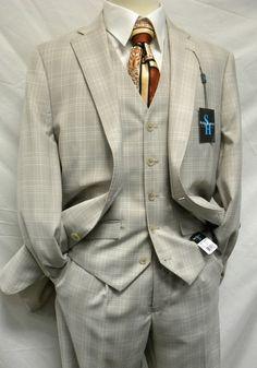 Steve Harvey Taupe Tan Plaid 3 Piece Suit 1246 TAUPE $160