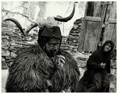 """""""A traditional mask from the Nuoro province in Sardinia that makes its appearance in Lula during the carnival in February.  Half sacrificial animal and scapegoat, half Dionysian figure, the Battileddu wears the hide of a black sheep on his shoulders and the horns of a ram on his head..."""" http://exit-imago.blogspot.com/"""
