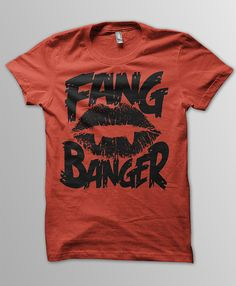 Fang Banger - Comfortable 100% cotton tshirt. Can be customized into a flattering tank top, halter top or mini dress or you can buy as it. Made to order to your size! Check out lots of our inventory. Heavy metal band shirts, horror shirts and more! This item is great for fans of TRUE BLOOD, TWILIGHT, LOST BOYS, VAMPIRE DIARIES. $25