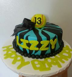 Softball birthday cake Softball Birthday Cakes, Softball Party, My Birthday Cake, 13th Birthday, Birthday Parties, Birthday Ideas, Cakes And More, Eat Cake, Projects To Try