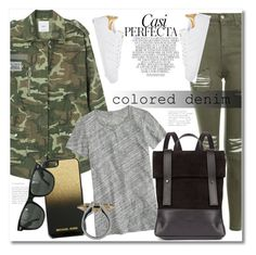 """""""Military"""" by vkmd ❤ liked on Polyvore featuring MANGO, Topshop, adidas, Whiteley, J.Crew, MICHAEL Michael Kors, CRU, Ray-Ban, Plukka and coloredjeans"""