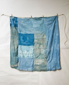 """Blue Untitled Quilt 2 by Matt Katsaros on Remodelista """"Quilts are something I am very keen on doing a lot more of,"""" says Katsaros, whose work is currently on display at Tartine in San Francisco. This patchwork quilt in gradients of blue shows the one-of-a-kind patterning that comes from Katsaros's not-too-controlled approach."""