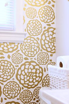 Beautiful faux wallpaper created out of gold vinyl using the silhouette machine
