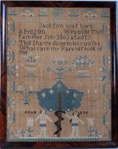 19TH C. MASSACHUSETTS ADAM AND EVE SAMPLER