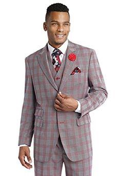 EJ Samuel M2685 Red Blazer Plaid Mens 3 Piece Suit with a...