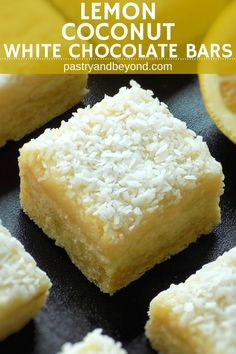 Lemon Coconut Bars with White Chocolate Ganache-These lemon coconut bars with white chocolate are delicious! Thick lemon crust balances the sweetness of the white chocolate ganache. Coconut enriches these bars. #lemon #coconut #bars #whitechocolate #recipes #dessert #ganache Recipe on pastryandbeyond.com with step by step pictures.
