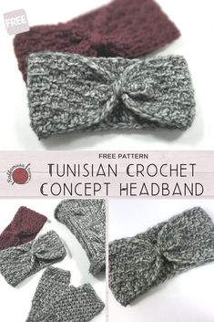 Easy Tunisian crochet Concept Headband that you can crochet with your regular crochet hook. Soft and warm, with a very elegant texture. Crochet Hooks, Free Crochet, Knit Crochet, Crochet Hair, Easy Knitting Patterns, Crochet Patterns, Simple Knitting, Hat Patterns, Tunisian Crochet