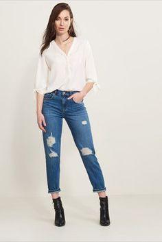 Jeans skinny Cara décontractés à taille haute et détails usés