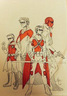 my babies ♥ --- Art (c) MayhWolf Characters (c) DC Comics Red Birds Robin Bird, Batman Family, Robins, Character Description, Drawing Tools, Teen Titans, Dc Universe, Bats, Dc Comics