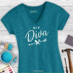 DIY Diva Furniture Rehabber Flea Market Flipper Ladies V-neck Graphic Tee
