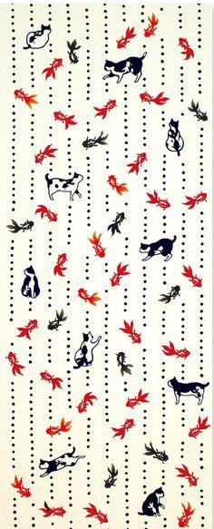 Japanese Tenugui Towel Cotton Fabric, Kawaii Little Kitty Cat, Goldfish Fish Design, Hand Dyed Fabric, Modern Art Fabric, Home Decor, k080