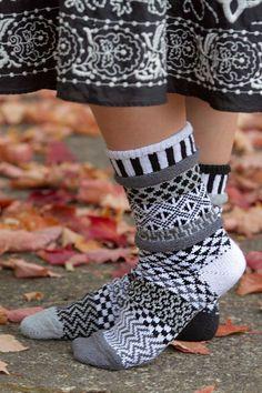 Midnight Crew Socks - The same kind of beautiful mis-matched socks you're used to from Solmate, but in stunning black, white and greys! Solmate Socks, Argyle Socks, Cozy Socks, Easy Crochet Socks, Crochet Socks Pattern, Knit Crochet, Fair Isle Knitting, Knitting Socks, Novelty Socks