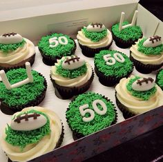50th Birthday Cupcakes, Fathers Day Cupcakes, 50th Cake, Fondant Cakes, Cupcake Cakes, Rugby Cake, Baking Recipes, Dessert Recipes, Desserts